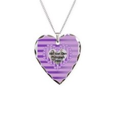Personalized Pretty pink heart photo frame Necklac