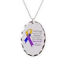 Bladder Cancer Strong Survivor Necklace Oval Charm