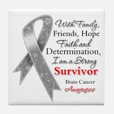 Brain Cancer Strong Survivor Tile Coaster