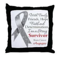 Brain Cancer Strong Survivor Throw Pillow