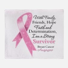 Breast Cancer Strong Survivor Throw Blanket