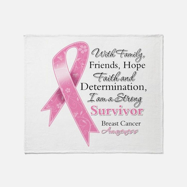Breast Cancer Strong Survivor Throw Blanket