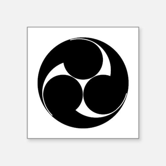 """Hidari mitsu tomoe Square Sticker 3"""" x 3"""""""