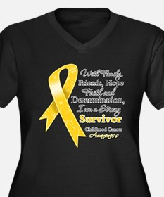 Survivor Childhood Cancer Women's Plus Size V-Neck