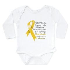 Survivor Childhood Cancer Long Sleeve Infant Bodys