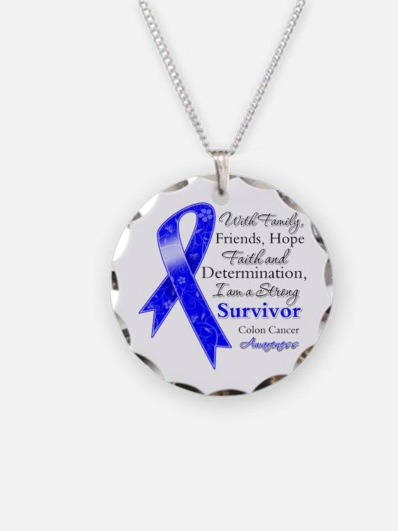 Colon Cancer Strong Survivor Necklace Circle Charm