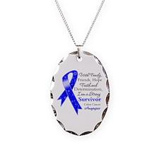 Colon Cancer Strong Survivor Necklace Oval Charm