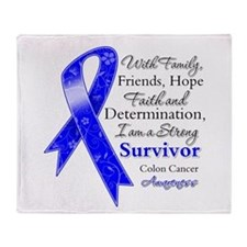 Colon Cancer Strong Survivor Throw Blanket