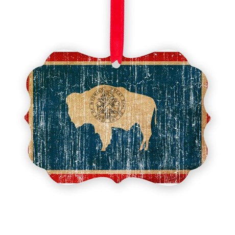 Wyoming Flag Picture Ornament