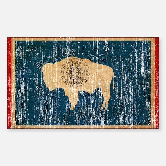 Wyoming Flag Sticker (Rectangle)