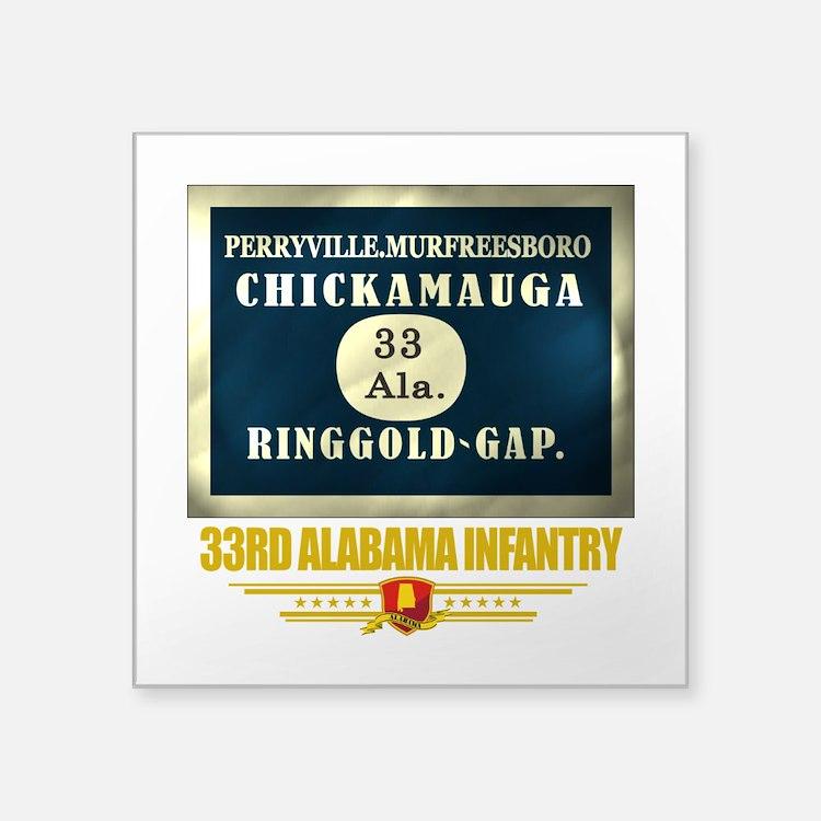 33rd Alabama Infantry (flag 10).png Square Sticker