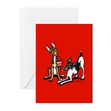 Rat Terrier Valentines Day Greeting Cards (Pk of 1
