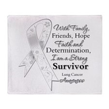 Lung Cancer Strong Survivor Throw Blanket