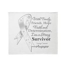 Lung Cancer Strong Survivor Throw Blanket