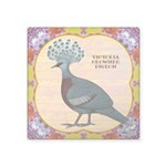 """Crowned Pigeon Floral Square Sticker 3"""" x 3&q"""