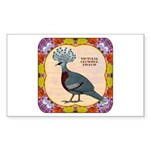 Crowned Pigeon Floral Sticker (Rectangle)