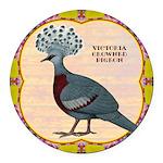 Crowned Pigeon Floral Round Car Magnet