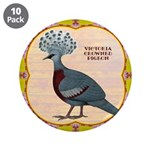 """Crowned Pigeon Floral 3.5"""" Button (10 pack)"""