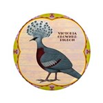 """Crowned Pigeon Floral 3.5"""" Button"""