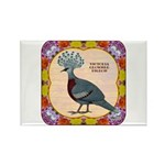 Crowned Pigeon Floral Rectangle Magnet (10 pack)