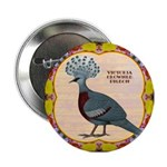 """Crowned Pigeon Floral 2.25"""" Button"""