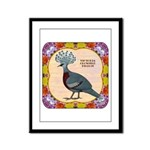 Crowned Pigeon Floral Framed Panel Print