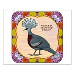 Crowned Pigeon Floral Small Poster