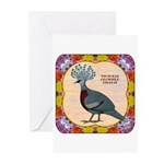 Crowned Pigeon Floral Greeting Cards (Pk of 20)