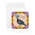 Crowned Pigeon Floral Greeting Card