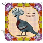 Crowned Pigeon Floral Shower Curtain