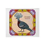 Crowned Pigeon Floral Throw Blanket