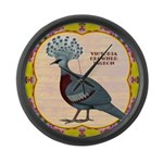 Crowned Pigeon Floral Large Wall Clock