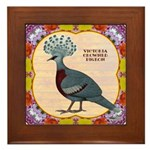 Crowned Pigeon Floral Framed Tile