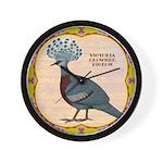 Crowned Pigeon Floral Wall Clock