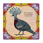 Crowned Pigeon Floral Tile Coaster