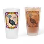 Crowned Pigeon Floral Drinking Glass