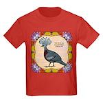 Crowned Pigeon Floral Kids Dark T-Shirt