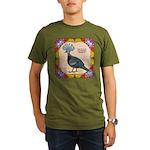 Crowned Pigeon Floral Organic Men's T-Shirt (dark)