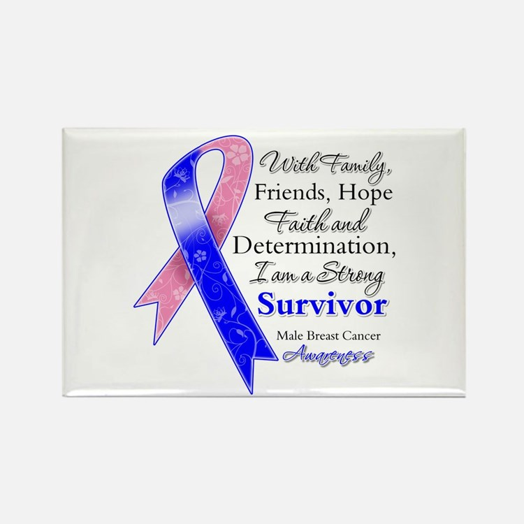Male Breast Cancer Survivor Rectangle Magnet