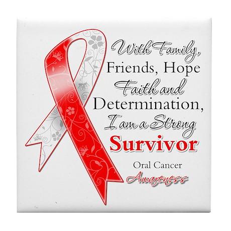 Oral Cancer Strong Survivor Tile Coaster