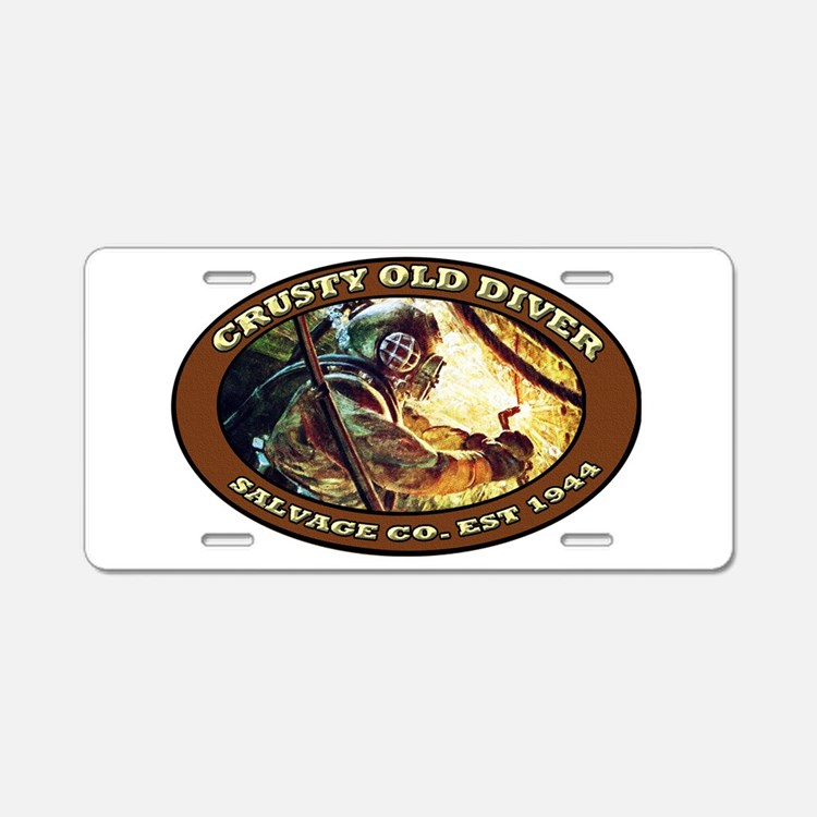 CRUSTY OLD DIVER SALVAGE CO. Aluminum License Plat