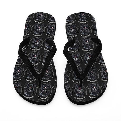 Black Newfie IAAM Flip Flops