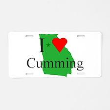 I Love Cumming Aluminum License Plate