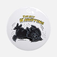 Black Newfie Totally Hairifying Ornament (Round)