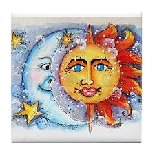 Celestial Sun and Moon Tile Coaster