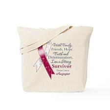 Throat Cancer Strong Survivor Tote Bag