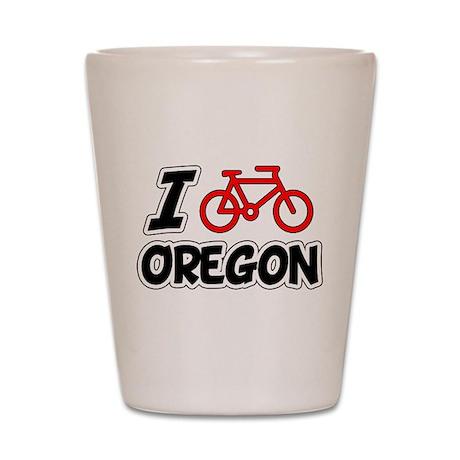 I Love Cycling Oregon Shot Glass