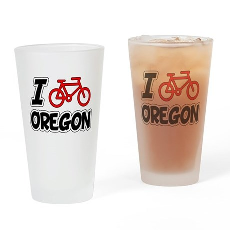 I Love Cycling Oregon Drinking Glass
