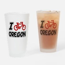 I Love Cycling Oregon Drinking Glass