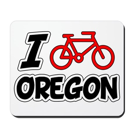 I Love Cycling Oregon Mousepad